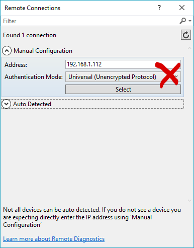 Screenshot of incorrect way to connect