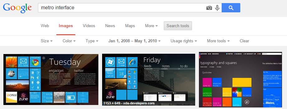 "Search results for ""Metro Interface"" in 2010"
